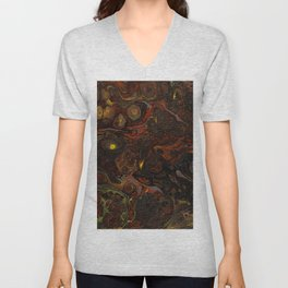 Fluid Art Acrylic Painting, Pour 21, Black, Red, Yellow & Gray Blended Color Unisex V-Neck
