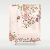 hong kong Shower Curtains featuring Hong Kong by Maps Factory