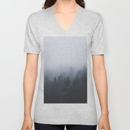 Mysterious forest in the fog Unisex V-Neck