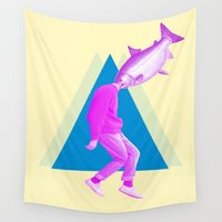 cinema Wall Tapestries featuring A perfect day for bananafish by Laura Nadeszhda