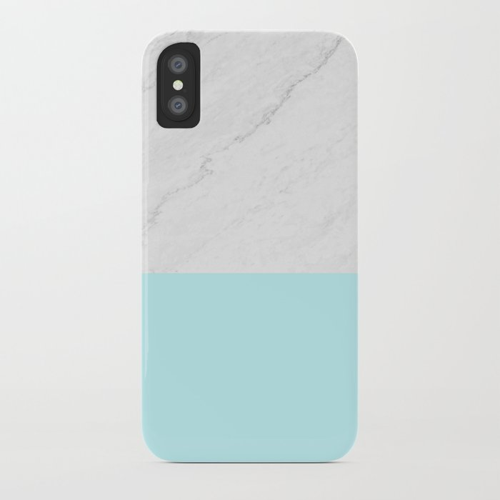 Marble And Aqua Blue iPhone Case