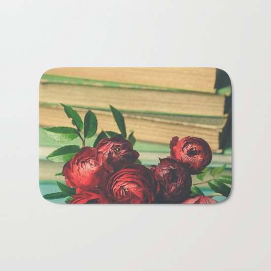 Books and Flowers Bath Mat