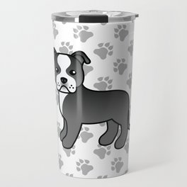 Black And White English Staffordshire Bull Terrier Cartoon Dog Travel Mug