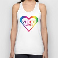 video games Tank Tops featuring love video games by seb mcnulty