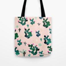 Pink Dusk Moon Cactus Tote Bag