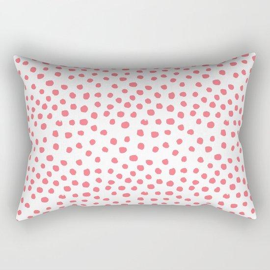 Coral dots pattern minimal painted polka dots Rectangular Pillow