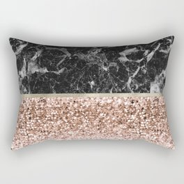 Warm chromatic - rose gold and black marble Rectangular Pillow