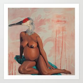 La femme l'oiseau Art Print
