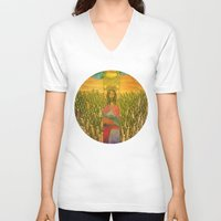 jesus V-neck T-shirts featuring Jesus by Eugene Frost
