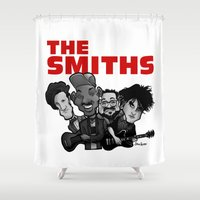 smiths Shower Curtains featuring The Smiths (white version) by BinaryGod.com