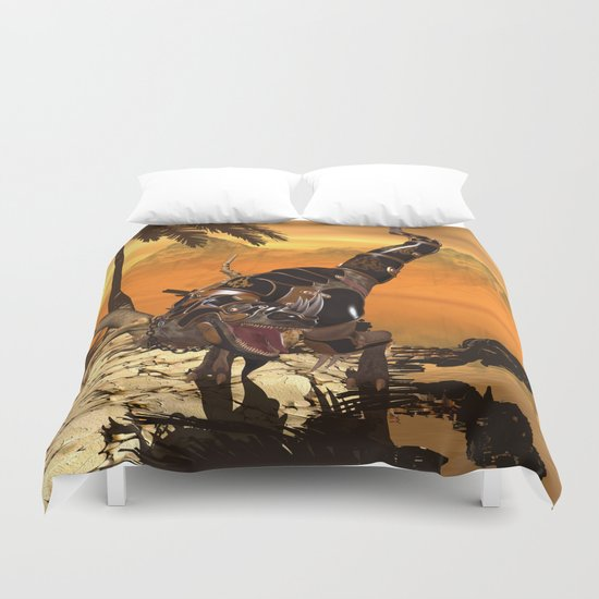 T-rex with armor Duvet Cover