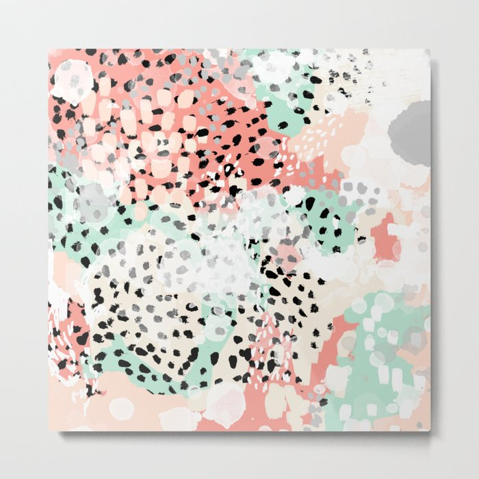 Phoebe - abstract painting minimal gender neutral trendy nursery decor home office art Metal Print