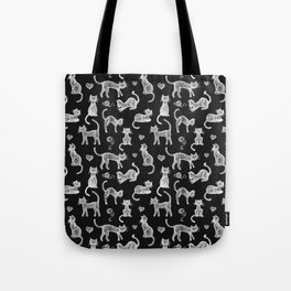 Teacher's Pet - chalk board cat pattern - white on black Tote Bag