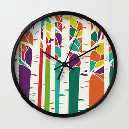 Whimsical birch forest Wall Clock