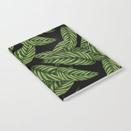 Green & Black Tropical Leaves Pattern Notebook