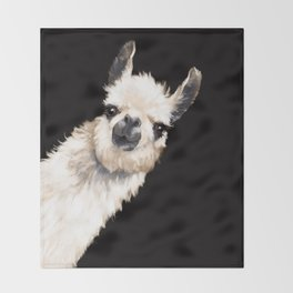 Sneaky Llama in Black Throw Blanket