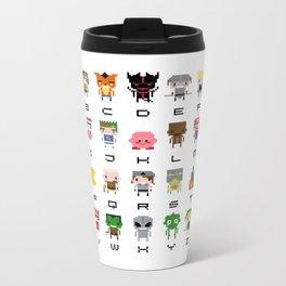 Video Games Pixel Alphabet Metal Travel Mug