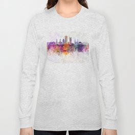Pittsburgh V2 skyline in watercolor background Long Sleeve T-shirt