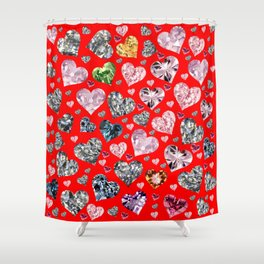 Heart Diamonds are Forever Love RED Shower Curtain