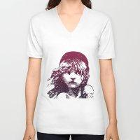 les miserables V-neck T-shirts featuring Les Miserables Girl by Pop Atelier