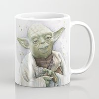 yoda Mugs featuring Yoda  by Olechka