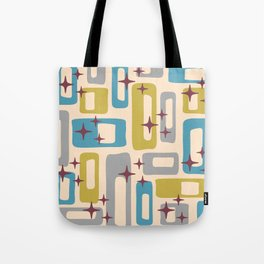 Retro Mid Century Modern Abstract Pattern 924 Turquoise Gray Olive Tote Bag