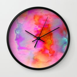 Abstract Cloud Formation in Shades of Red, Gold and Pink Wall Clock