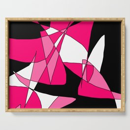 Windy Peaks - Abstract Pinks on Black Serving Tray