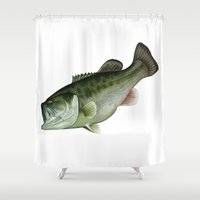 bass Shower Curtains featuring black bass by Voss fineart