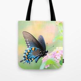 Spicebush Swallowtail Butterfly on Lantana Tote Bag