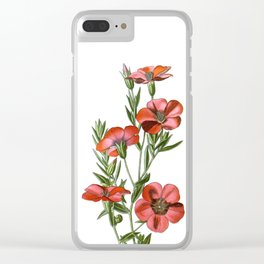 Red Flax Flower Bouquet Clear iPhone Case