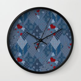Denim patchwork rhombus with hearts. Wall Clock