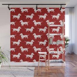 Merry Christmas Dachshunds Wall Mural