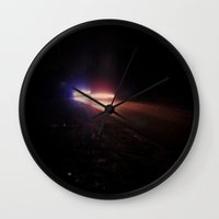 racing Wall Clocks featuring UFO Racing by Jorgenson Art Syndicate