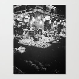 fruit shop (black and white) Canvas Print