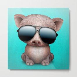 Baby Pig Wearing Sunglasses Metal Print