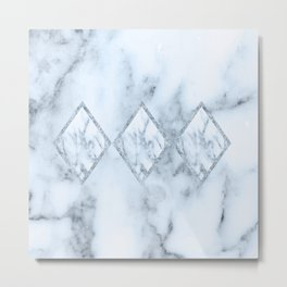 White marble blue tint geometric design Metal Print