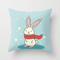 Winter Rabbit Throw Pillow