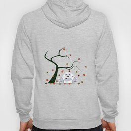 Autumn Design - Kawaii Abominable - Little Yeti With Falling leaves Hoody