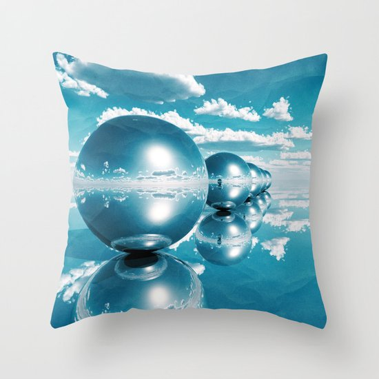 blue spheres in line paper Throw Pillow
