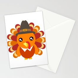 Cute Turkey Wearing A Hat Happy Turkey Day Thanksgiving Save A Turkey Awareness T-shirt Design Stationery Cards