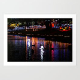 ducks on relfections Art Print