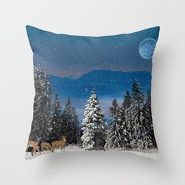 Christmas Forest - Scenic Wall Art Throw Pillow
