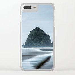 Incoming Waves Recede During Rainy Weather at Haystack Rock in Cannon Beach, Oregon Clear iPhone Case