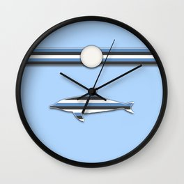 Dolphin Blue Stripes Animal Design Pattern Wall Clock