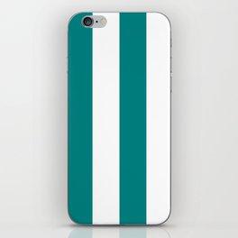 Wide Vertical Stripes - White and Dark Cyan iPhone Skin