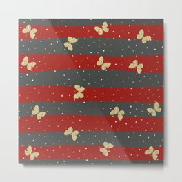 Butterfly Christmas seamless pattern and Gold Confetti on Dark Gray and Red Stripes Background Metal Print