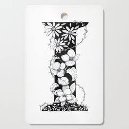 Floral Pen and Ink Letter I Cutting Board