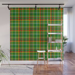 Green Red Yellow and White Plaid Wall Mural