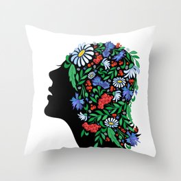 Female head with abstract flowers Throw Pillow